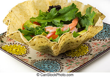 Shrimp tostada bowl salad. - Close up of shrimp tostada bowl...