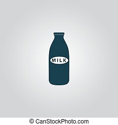milk bottle icon - Milk bottle. Flat web icon or sign...
