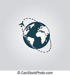 Air travel destination icon - Air travel destination Flat...