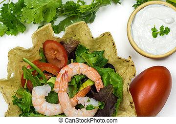 Shrimp tostada bowl salad. - Close up of shrimp tostada bowl...