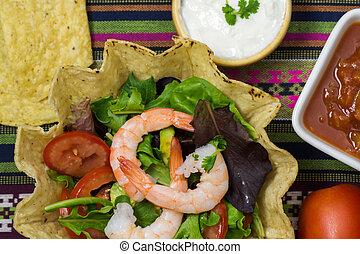Shrimp tostada bowl salad - Close up of shrimp tostada bowl...