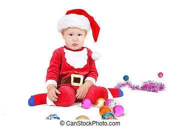 adorable baby santa over white