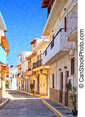 Lerapetra Street Digital Painting - A digital painting of a...