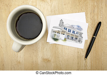Note Card with House Drawing, Pen and Coffee