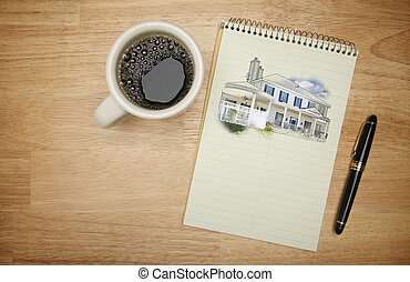 Pad of Paper with House Drawing, Pen and Coffee