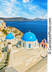 Santorini Oia Church Caldera View digital painting - A...