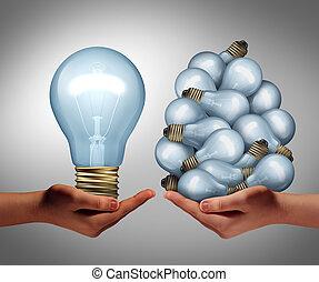Big Idea - Big idea concept as a hand holding a large...