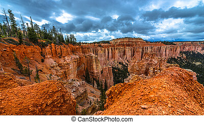 Ponderosa Canyon Bryce National Park - Dramatic Clouds over...