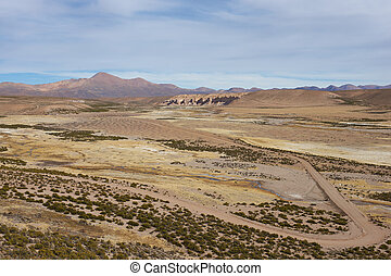 Landscape of the Altiplano - Large open plain created by the...
