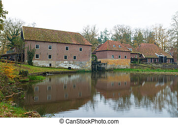 old watermill - back site of an old watermill in Denekamp,...