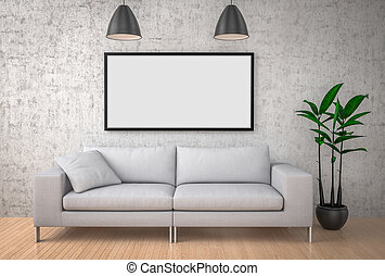 Mock up poster, big sofa, concrete wall background, 3d...