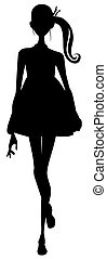 girl silhouette - drawing of black girl silhouette in a...