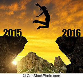 Girl jumps to the New Year 2016 - Silhouette the Girl jumps...