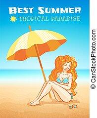 girl on the tropical beach