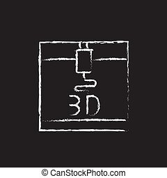 Three D printer drawn in chalk