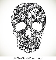 Vector illustration with Hand Drawn Skull. Day of The Dead...