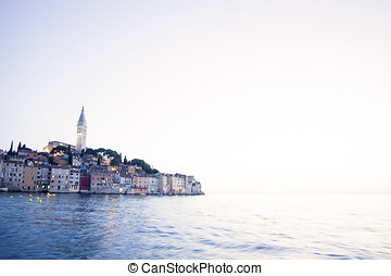 Old city core of Rovinj at sunset - A view of the old city...