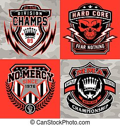 Sports shield emblem graphic set - Sports-inspired crest...
