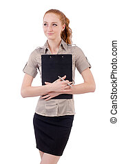 Pretty young employee with paper isolated on white