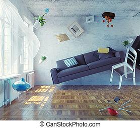 zero-gravidade,  Interior