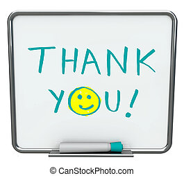 Thank You on Dry Erase Board - Thank you written on a white...
