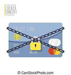 Credit card are bound with chains and locked with a padlock flat vector.