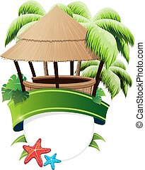 Bungalow bar and palm trees - Bungalow bar, palm trees and...