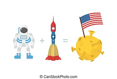 First Astronaut on moon.  American flag on moon. Space rocket and planet. Vector illustration.