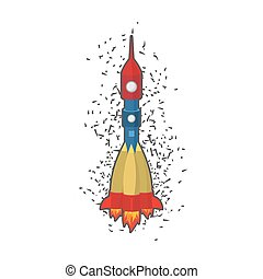 Rocket space ship on a white background. Vector illustration.