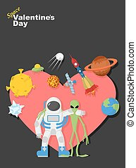 Astronaut and alien friends. Valentines day in space. Heart symbol with cosmic elements: spacecraft and rocket. UFOs and  moon. Vector illustration