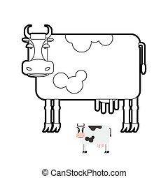 Cow coloring book. Vector illustration of farm animals.