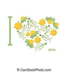 I love UFO. Symbol  heart of humanoid, alien and space saucer. Vector illustration