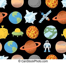 Planets of solar system seamless pattern