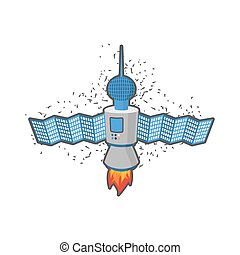 Satellite in space on a white background. Vector illustration.