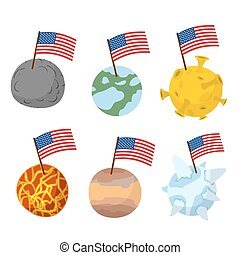 Planets of  solar system with flag of America. Discoverers of new planets in  space. Vector illustration
