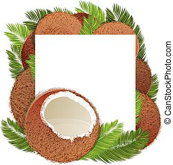Coconuts and palm branches with place for text