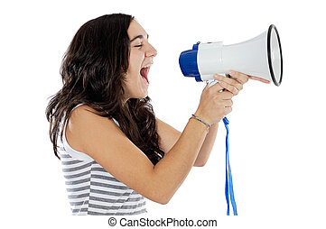 Teenager with megaphone