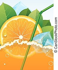 Orange juice - Juice with orange slice, straw and ice cubes
