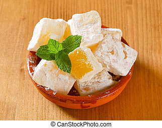 Mastic-flavored, jalea, cubos, (Greek, turco, delight),