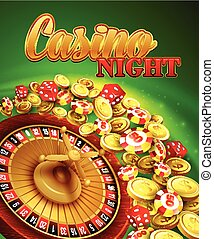 Casino night. Vector Illustration with roulette, coins EPS...