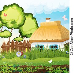 Rural landscape with a small house with a thatched roof...