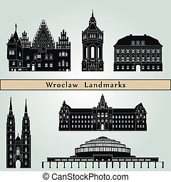 Wroclaw Landmarks - Wroclaw landmarks and monuments isolated...