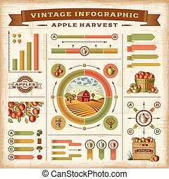 Vintage apple harvest infographic - A set of fully editable...