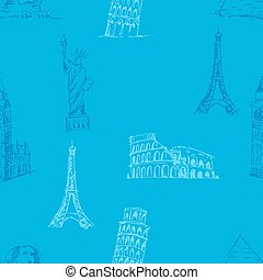 Doodle Travel pattern. World famous landmarks