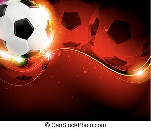 Soccer ball on red  background