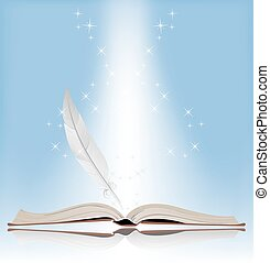 Symbol of Knowledge - Book on a blue background. Symbol of...