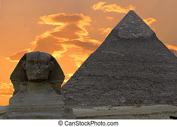 Sphinx and Pyramid of Khafre or Chephren, Egypt...