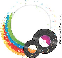 Vinyl records - Rainbow and vinyl records. Conceptual music...