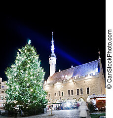 Town square view shortly before Christmas vertical - Town...