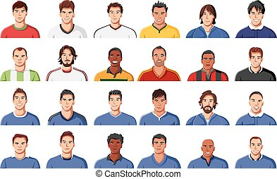 football players face - Large group of football player...